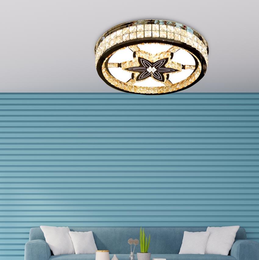 Đèn ốp trần LED pha lê mâm tròn 600x600 Venus HS85212