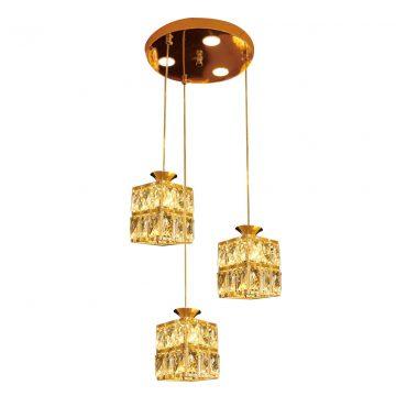 Đèn thả trần bàn ăn 3 bóng chao pha lê vuông Venus CR73137