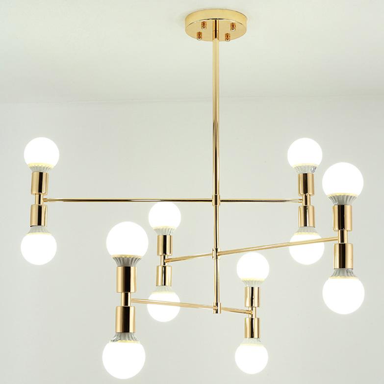 Đèn chùm hình học 12 Bóng tròn nhỏ màu trắng thân vàng VENUS TT48-12