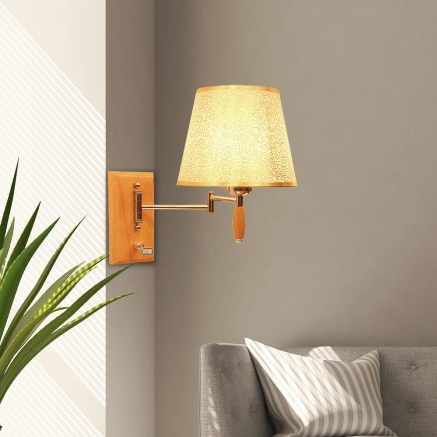 Đèn gắn tường đầu giường ngủ sang trọng chân gỗ Venus HT7880