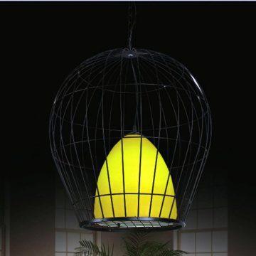 Đèn thả nghệ thuật lồng chim nhôm sắt chao vải Venus 6376/1