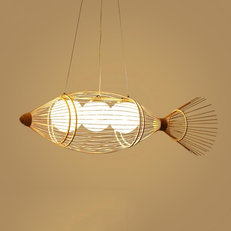 Đèn thả mây tre hình nôm bắt cá