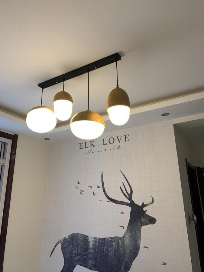 đèn thản gỗ quán trà sữa