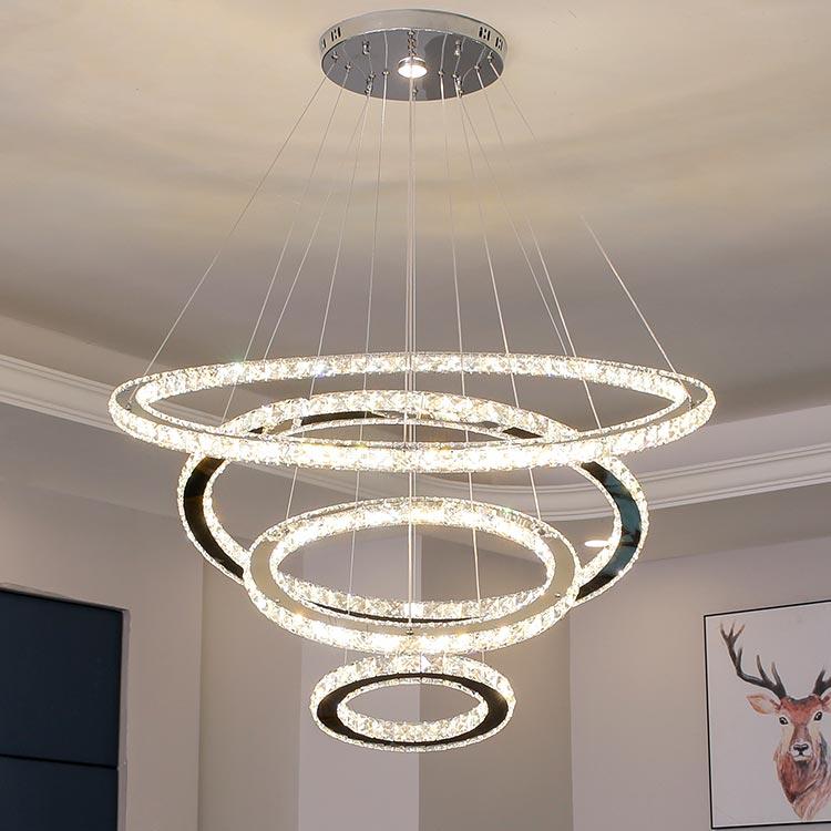 Đèn thả trần LED 4 vòng tròn pha lê cao cấp Venus