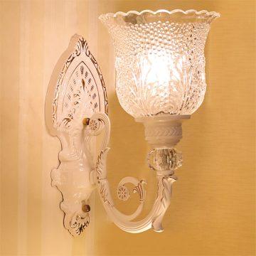 Đèn vách tường LED cổ điển thân gốm chao hoa thủy tinh Venus VIR617/1