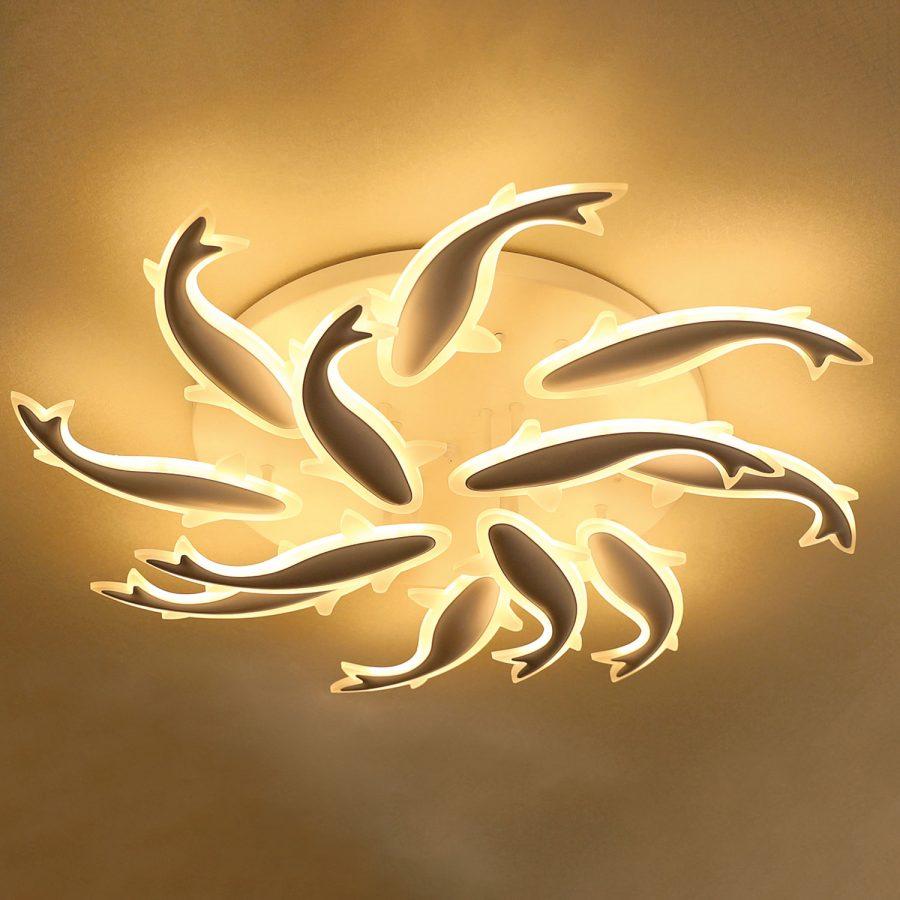 Đèn ốp trần LED mâm tròn 800mm hình cá heo Venus VR8259/8+4 (120W)
