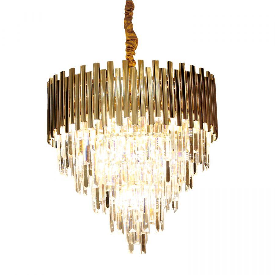 Đèn thả trần chùm pha lê khung kim loại sơn vàng 600x600 Venus CK09100