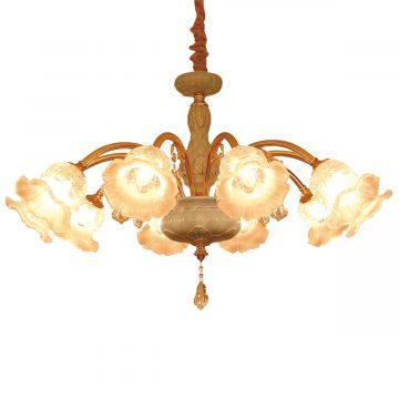 Đèn chùm sứ và thủy tinh cao cấp hình bông hoa 10 tay 1 mét Venus 9281/10