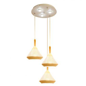 Đèn thả trần 3 bóng chao lồng tam giác chuôi gỗ Venus CF6024/3