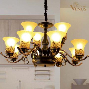 Đèn chùm thủy tinh cổ điển 12 nhánh Venus A1169/8+4