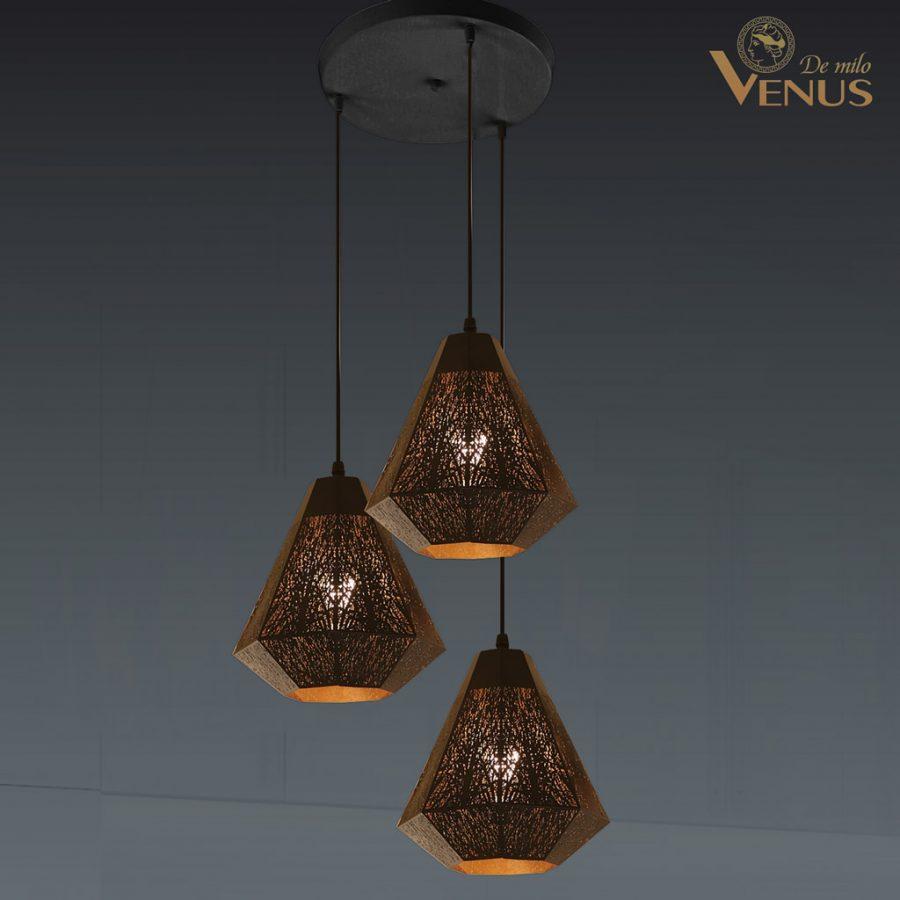 Đèn thả màu cà phê 3 bóng Venus KD9947/3