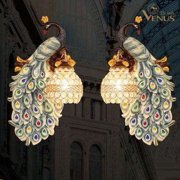 Đèn tường đôi uyên ương chim công cao cấp Venus KD5213