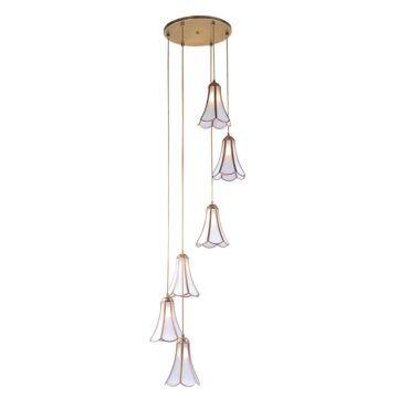 Đèn thả trần phòng khách bằng đồng thông tầng 6 bông hoa Venus 100034-06A 6 Bóng
