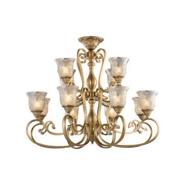 Đèn Chùm Đồng Kiểu Italia Cổ điển Venus 100239-12 12 tay bóng nến