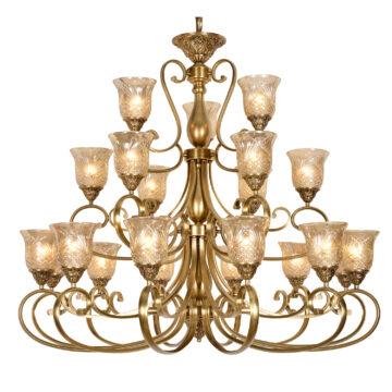 Đèn Chùm Đồng Kiểu Italia Cổ điển Venus 100239-21 21 tay bóng nến