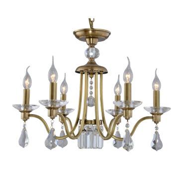 Đèn Chùm Đồng Kiểu Italia Cổ điển Venus 100297-06 6 tay bóng nến