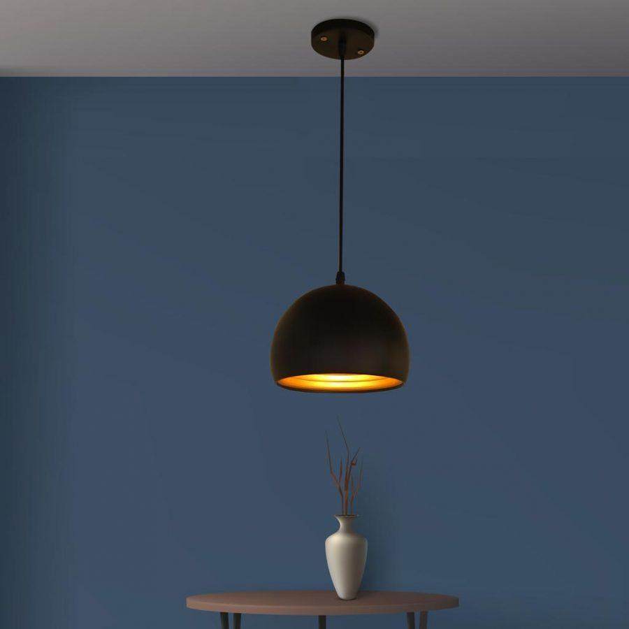 Đèn thả trần bàn ăn chao chảo nhôm màu đen hiện đại Venus 8325B