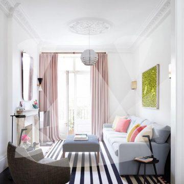 thiết kế ánh sáng cho phòng khách chiều ngang hẹp