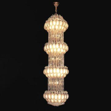 Đèn chùm pha lê thông tầng chiếc lá mạ vàng Venus 3133