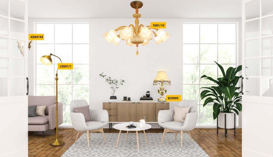 Đèn trang trí cổ điển cho phòng khách nhỏ