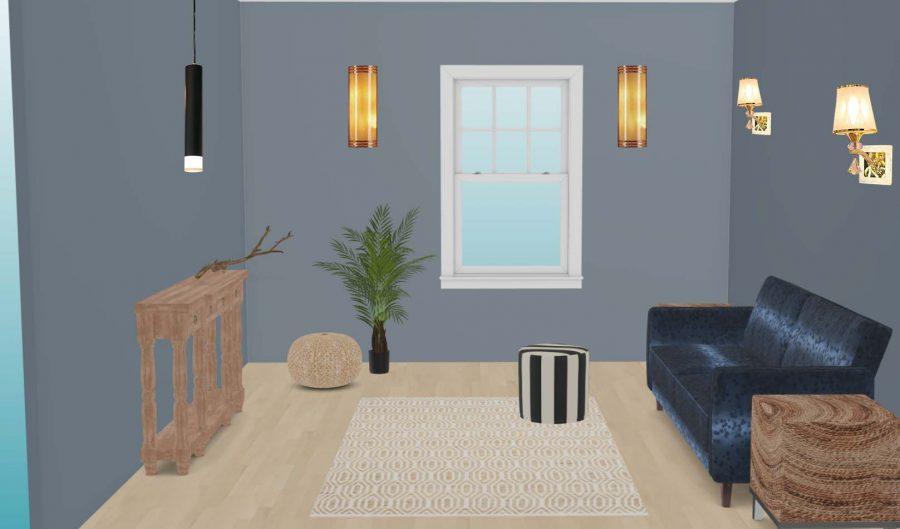 đèn trang trí phòng khách có cửa sổ