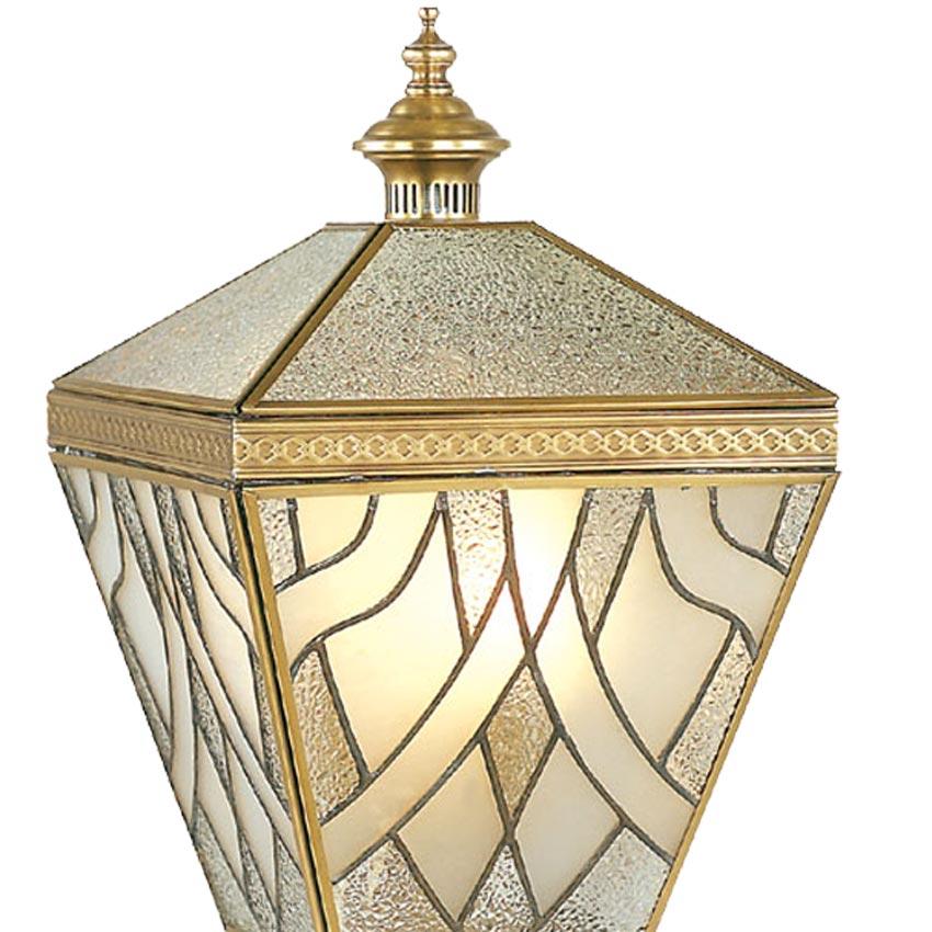 Đèn trụ cổng ngoài trời Đồng chụp thủy tinh hoa văn 3D Venus 500163-03