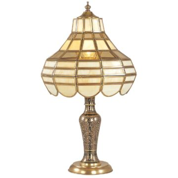 Đèn ngủ để bàn đồng chạm khắc hoa mai vàng Venus 600152-01