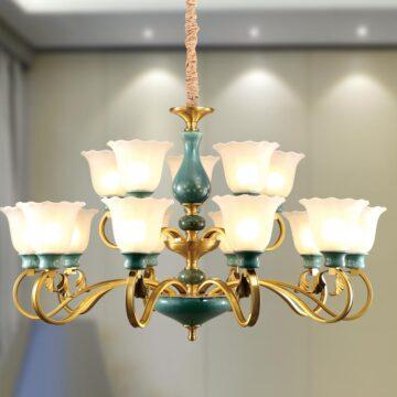 Đèn chùm đồng thủy tinh cổ điển xanh ngọc bích Venus DC5-002