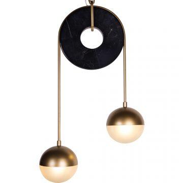 Đèn thả trần trang trí 2 bóng thủy tinh tròn dĩa đá cẩm thạch Venus MD0085