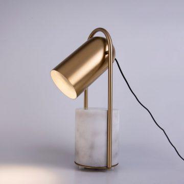 Đèn để bàn trang trí kiểu Ý chao sắt hình ống nhòm thân trụ đá cẩm thạch tự nhiên Venus MI2203