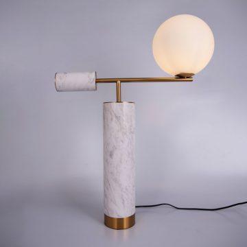 Đèn để bàn trang trí kiểu Ý bóng thủy tinh tròn thân trụ đá cẩm thạch tự nhiên Venus MI2180
