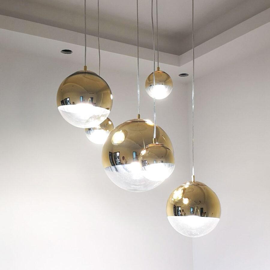 Đèn thả quả cầu gương bóng vàng gold Venus 8009G2