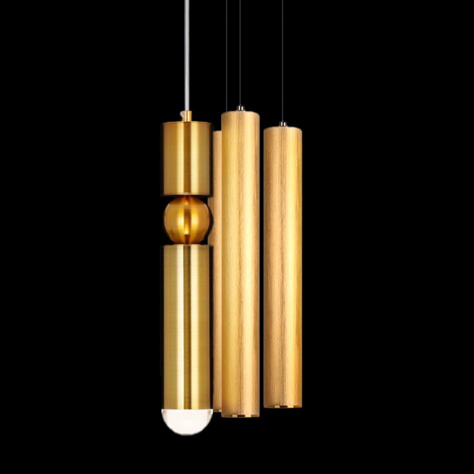 Đèn thả đơn Ống kim loại xi vàng cao cấp KD-124