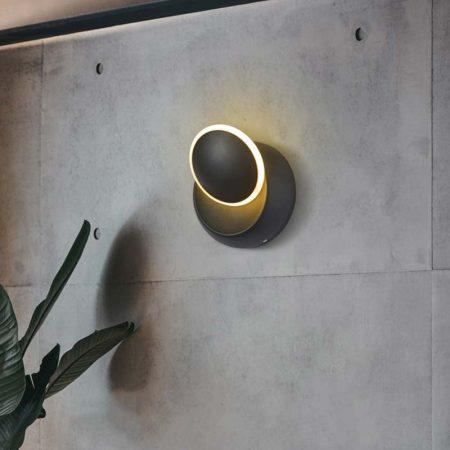đèn hắt tường hiện đại màu đen hình tròn xoay nhiều góc