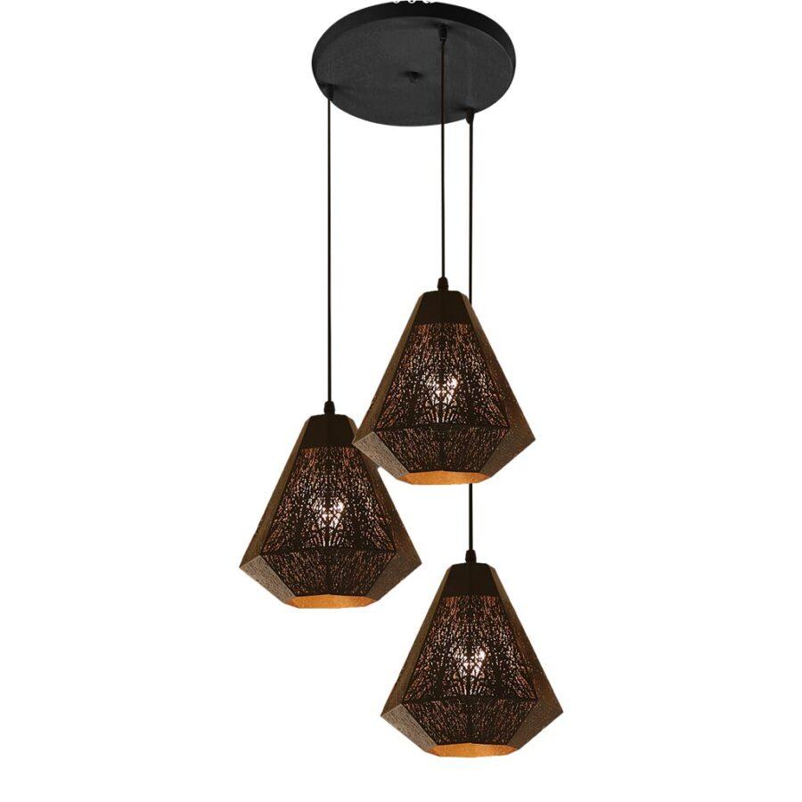 Đèn thả bàn ăn 3 bóng chao khắc hoa văn Venus Leaves
