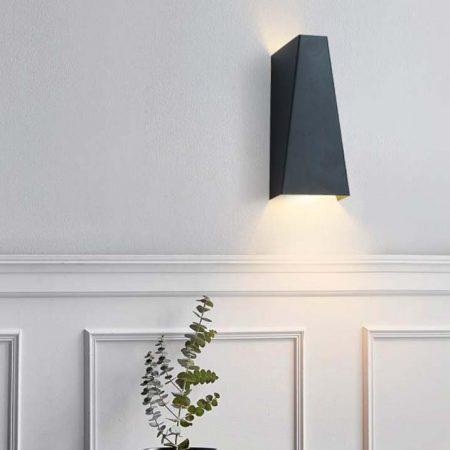 đèn hắt tường hiện đại màu đen hình thoi 2 đầu sáng