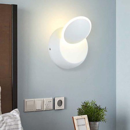 đèn hắt tường hiện đại màu trắng hình tròn xoay nhiều góc