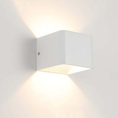 đèn hắt tường hiện đại màu trắng hình vuông đơn giản 2 đầu chiếu sáng