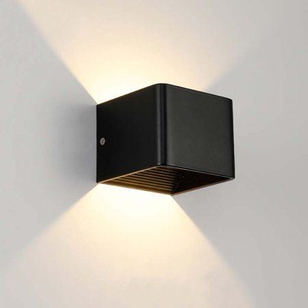 đèn hắt tường hiện đại màu đen hình vuôn đơn giản 2 đầu sáng