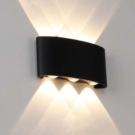 đèn hắt tường hiện đại 6 bóng 2 đầu sáng màu đen