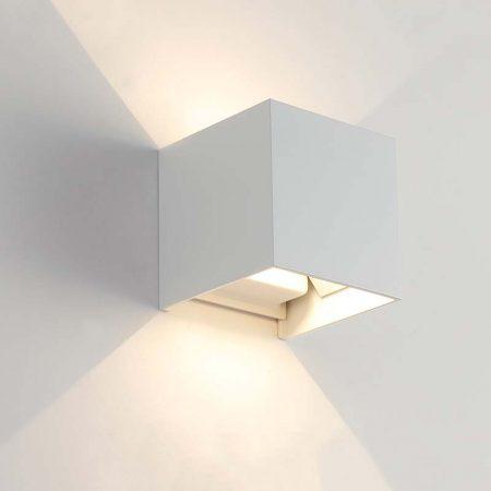đèn hắt tường hiện đại màu trắng hình vuông