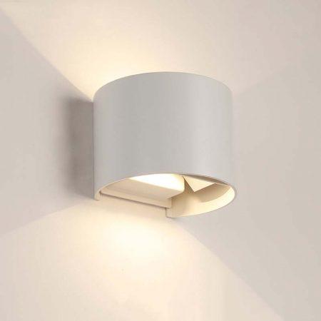 đèn hắt tường hiện đại màu trắng hình tròn bằng nhôm
