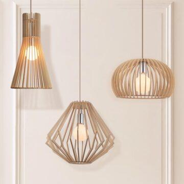 Đèn thả trang trí gỗ tự nhiên
