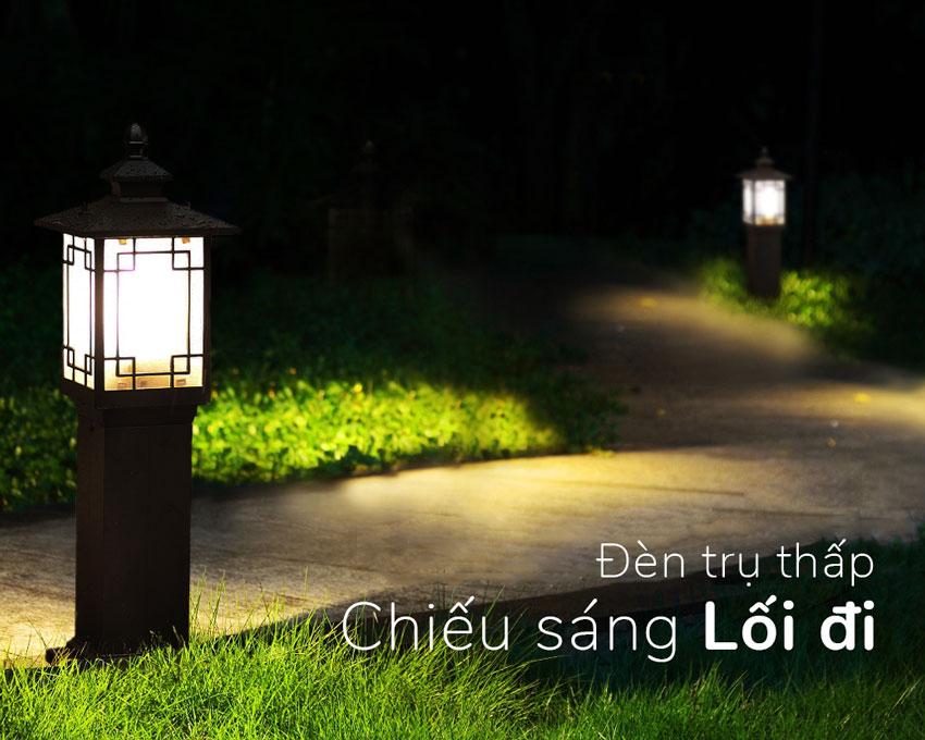 đèn trụ thấp chiếu sáng lối đi ngoài trời