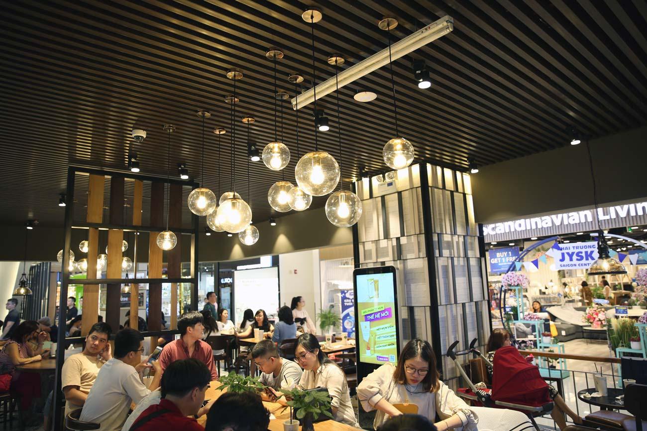 Không gian nội thất & Đèn Trang Trí Quán Trà Cà Phê Phúc Long ,Takashimaya, Quận 1
