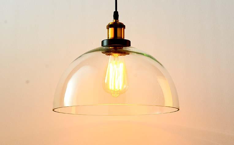 đèn thả thủy tinh chuôi giả đồng thiết kế đơn giản